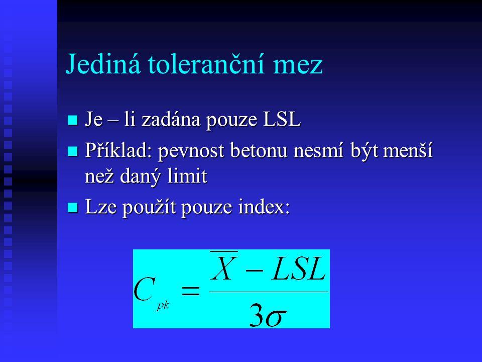 Jediná toleranční mez Je – li zadána pouze LSL