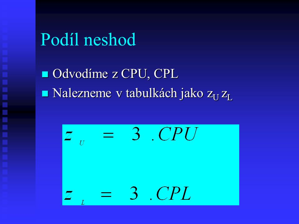 Podíl neshod Odvodíme z CPU, CPL Nalezneme v tabulkách jako zU zL