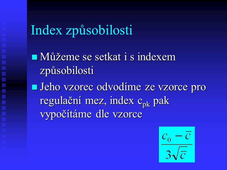 Index způsobilosti Můžeme se setkat i s indexem způsobilosti
