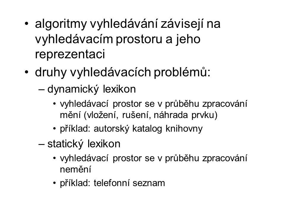 druhy vyhledávacích problémů:
