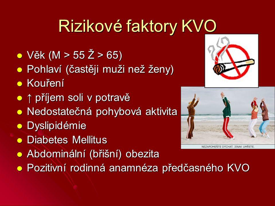 Rizikové faktory KVO Věk (M > 55 Ž > 65)
