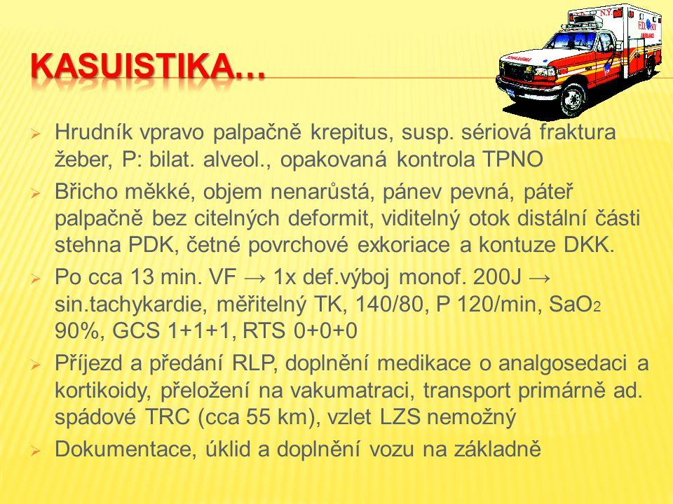 KASUISTIKA… Hrudník vpravo palpačně krepitus, susp. sériová fraktura žeber, P: bilat. alveol., opakovaná kontrola TPNO.