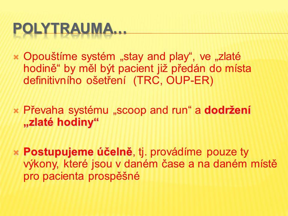 """POLYTRAUMA… Opouštíme systém """"stay and play , ve """"zlaté hodině by měl být pacient již předán do místa definitivního ošetření (TRC, OUP-ER)"""