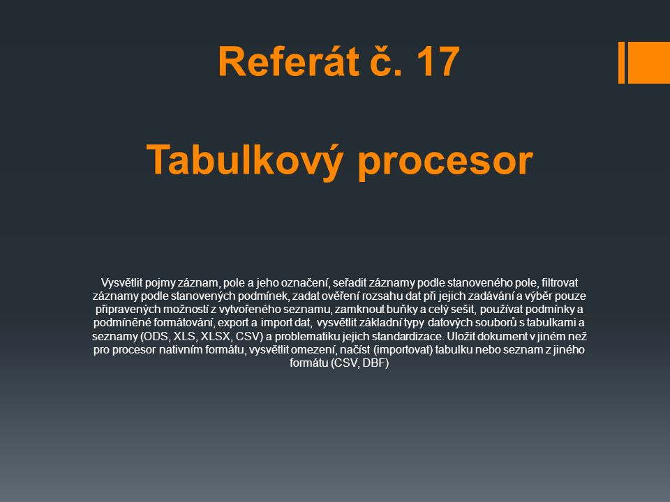 Referát č. 17 Tabulkový procesor
