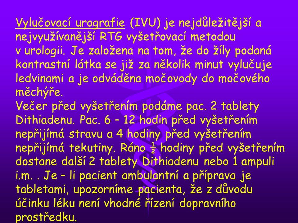 Vylučovací urografie (IVU) je nejdůležitější a nejvyužívanější RTG vyšetřovací metodou v urologii. Je založena na tom, že do žíly podaná kontrastní látka se již za několik minut vylučuje ledvinami a je odváděna močovody do močového měchýře.