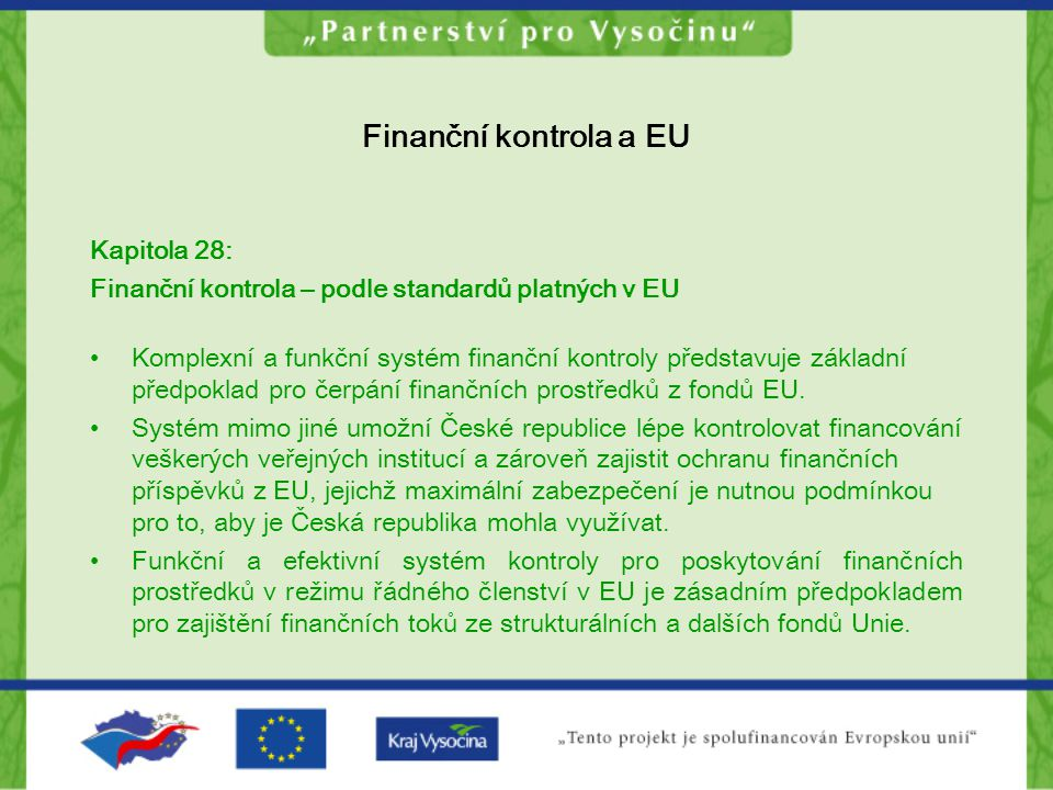 Finanční kontrola a EU Kapitola 28: