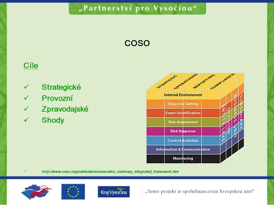 COSO Cíle Strategické Provozní Zpravodajské Shody