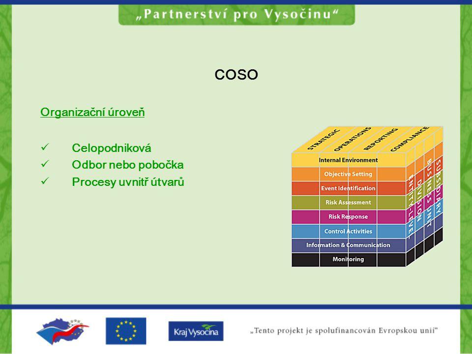 COSO Organizační úroveň Celopodniková Odbor nebo pobočka