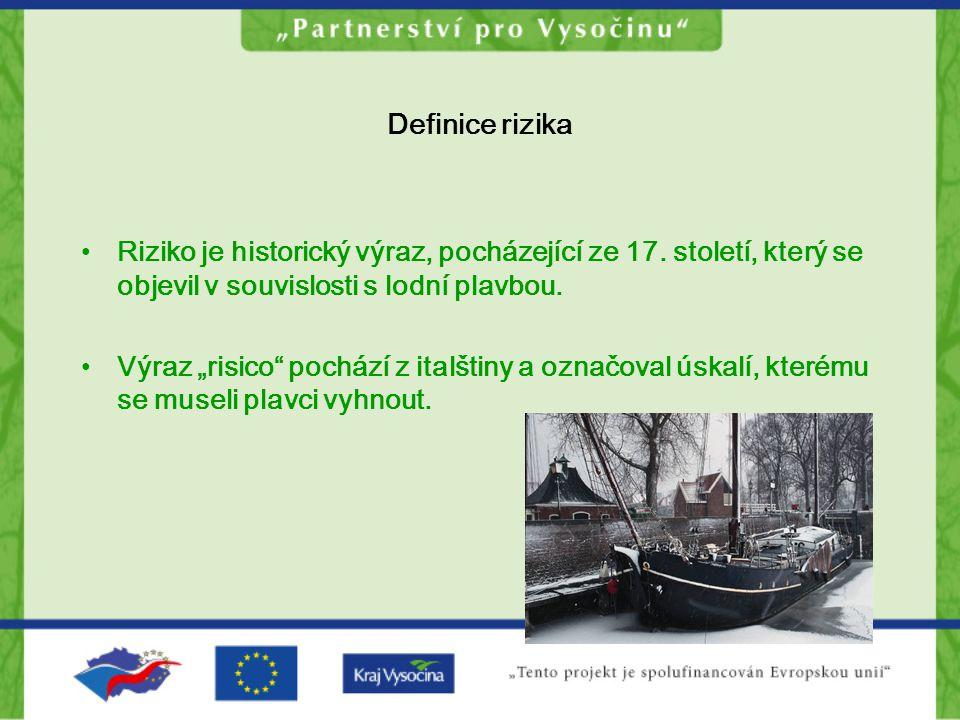 Definice rizika Riziko je historický výraz, pocházející ze 17. století, který se objevil v souvislosti s lodní plavbou.