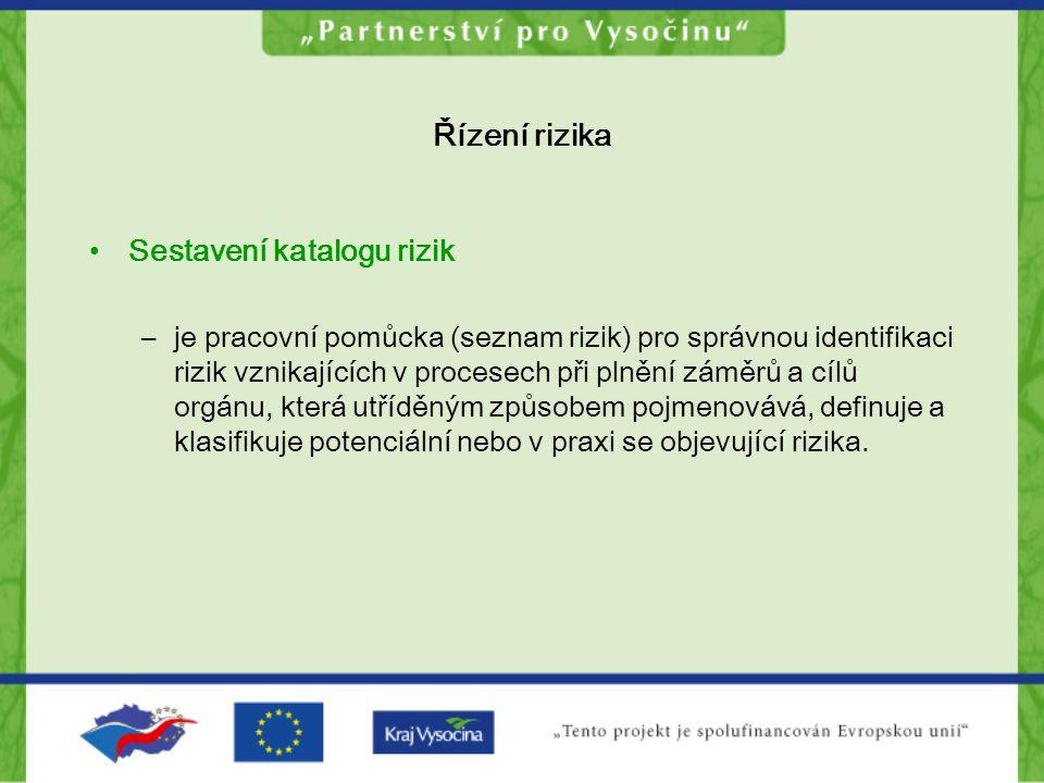 Řízení rizika Sestavení katalogu rizik