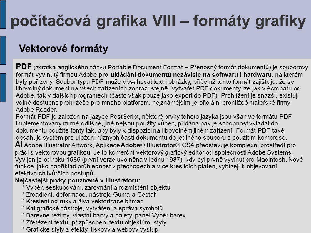 počítačová grafika VIII – formáty grafiky