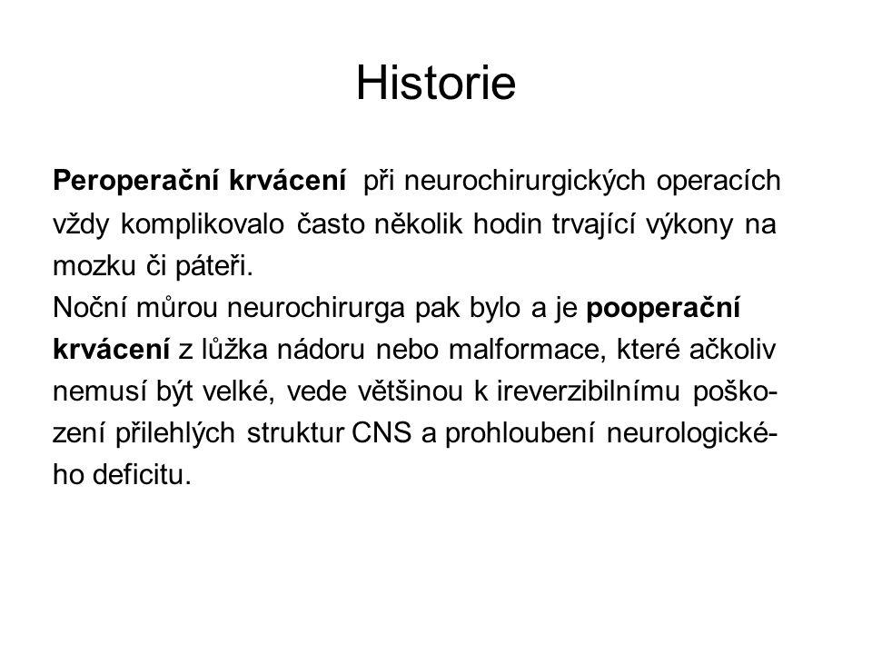 Historie Peroperační krvácení při neurochirurgických operacích