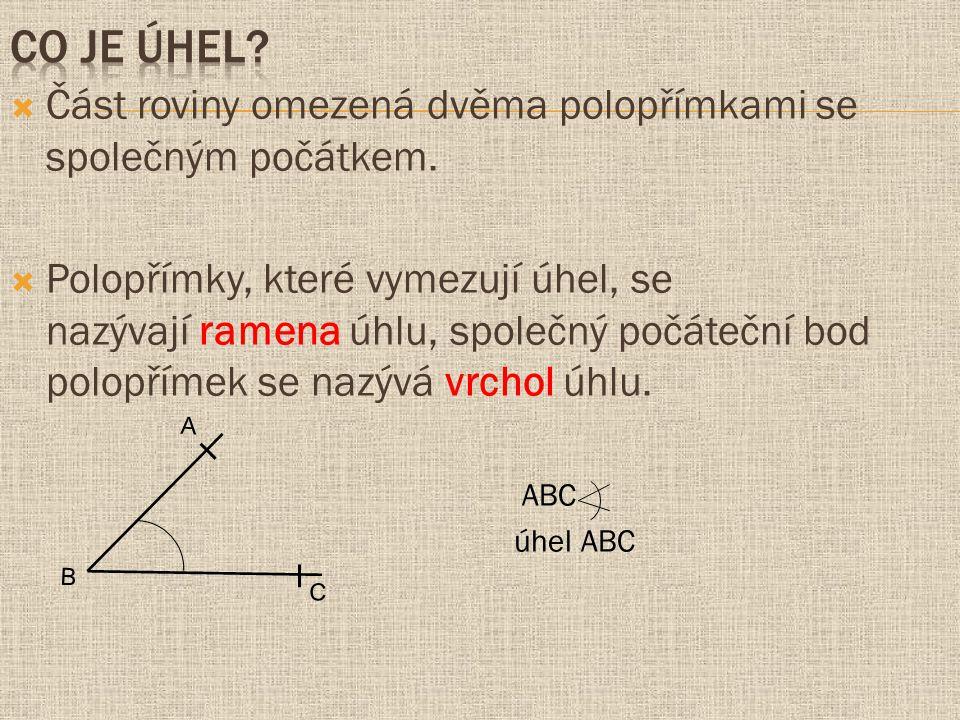 Co je úhel Část roviny omezená dvěma polopřímkami se společným počátkem.