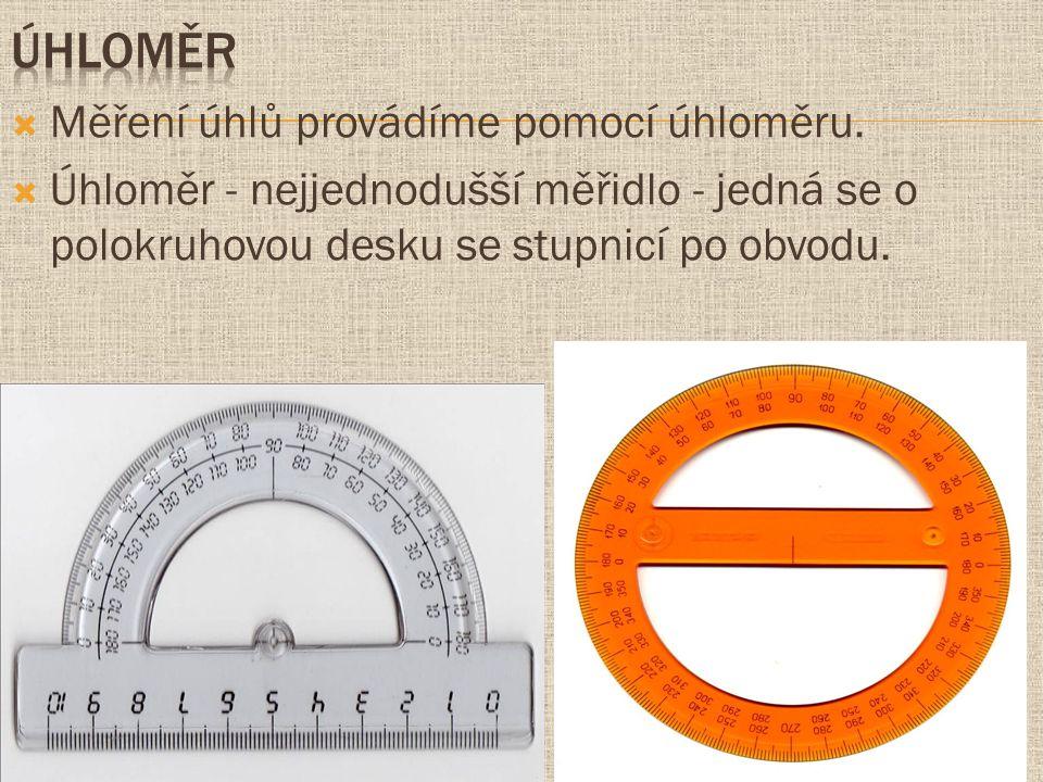 úhloměr Měření úhlů provádíme pomocí úhloměru.