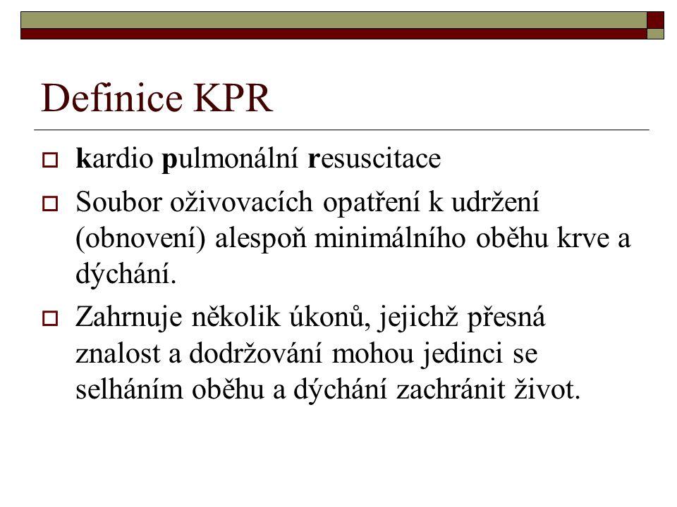 Definice KPR kardio pulmonální resuscitace
