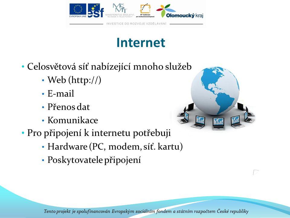 Internet Celosvětová síť nabízející mnoho služeb