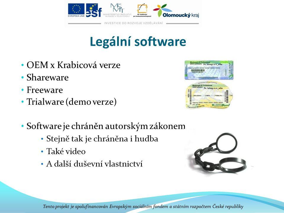 Legální software OEM x Krabicová verze Shareware Freeware