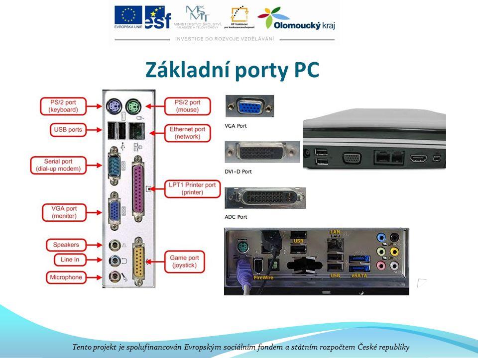 Základní porty PC Tento projekt je spolufinancován Evropským sociálním fondem a státním rozpočtem České republiky.