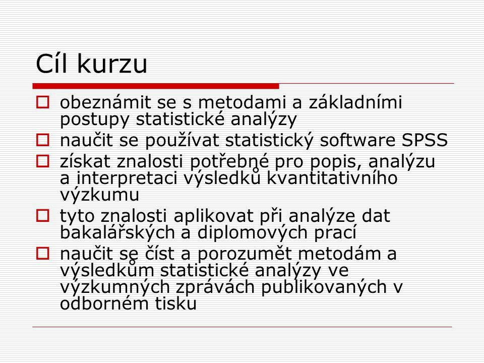 Cíl kurzu obeznámit se s metodami a základními postupy statistické analýzy. naučit se používat statistický software SPSS.