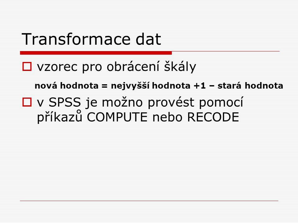 Transformace dat vzorec pro obrácení škály