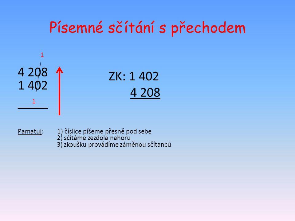 Písemné sčítání s přechodem