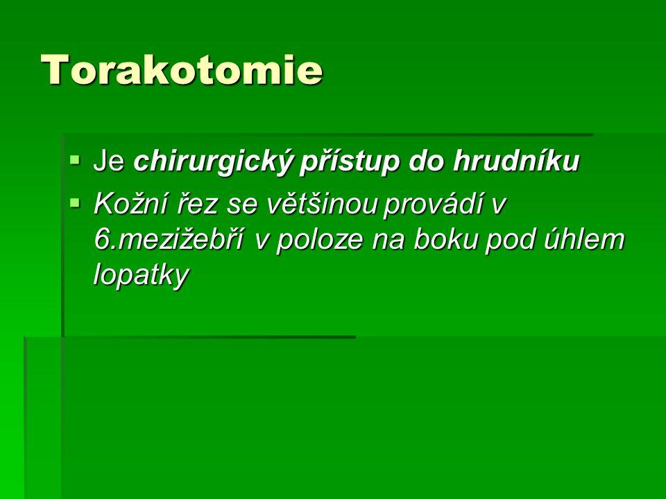 Torakotomie Je chirurgický přístup do hrudníku