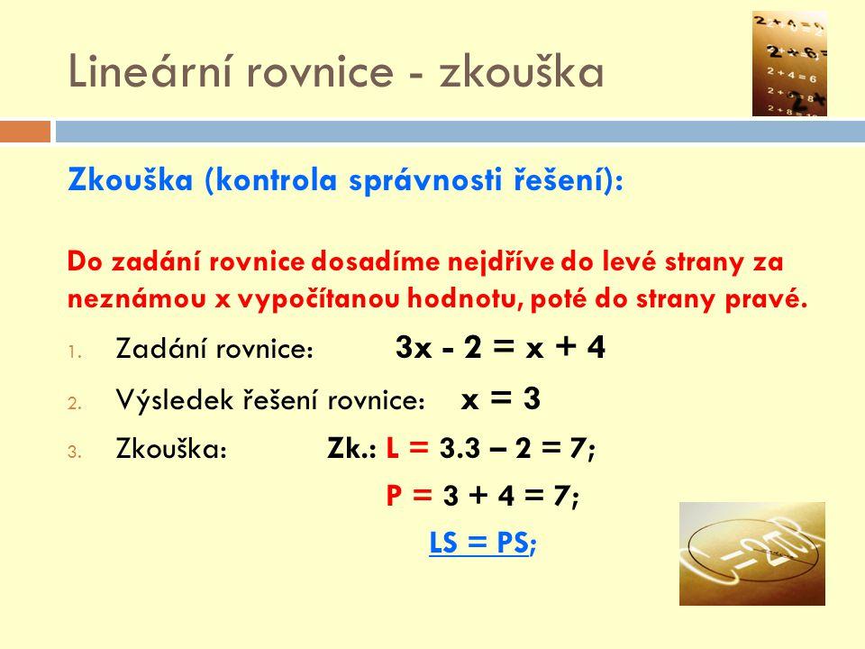 Lineární rovnice - zkouška