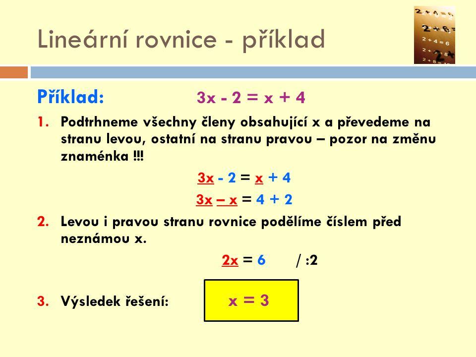 Lineární rovnice - příklad