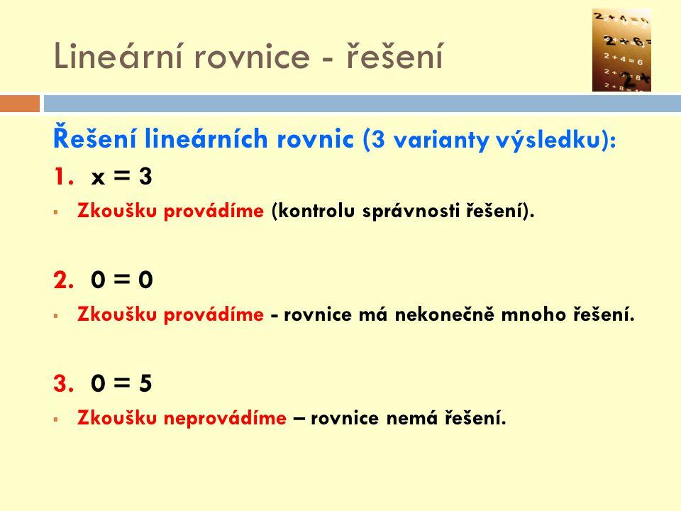 Lineární rovnice - řešení