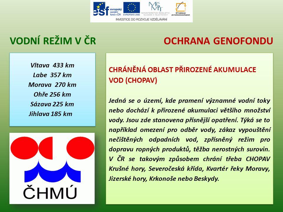 Vodní režim v čr Ochrana genofondu