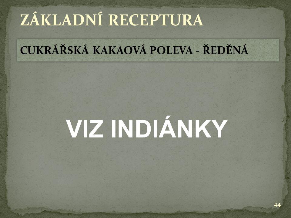 ZÁKLADNÍ RECEPTURA CUKRÁŘSKÁ KAKAOVÁ POLEVA - ŘEDĚNÁ VIZ INDIÁNKY