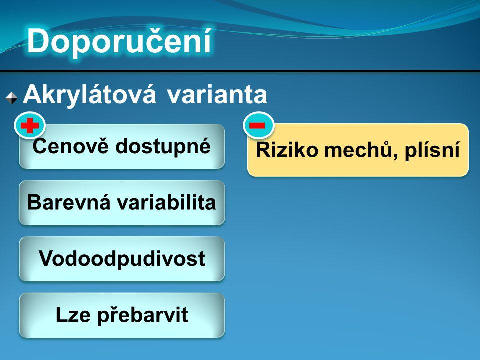 Doporučení Akrylátová varianta Cenově dostupné Riziko mechů, plísní