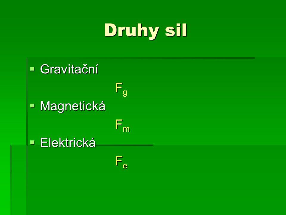 Druhy sil Gravitační Fg Magnetická Fm Elektrická Fe