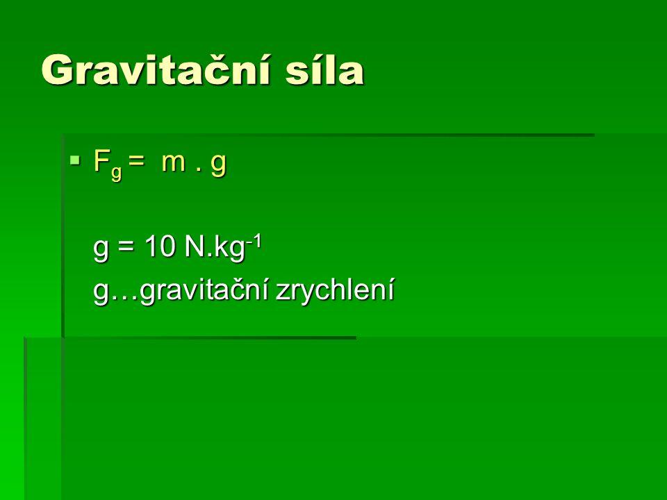 Gravitační síla Fg = m . g g = 10 N.kg-1 g…gravitační zrychlení