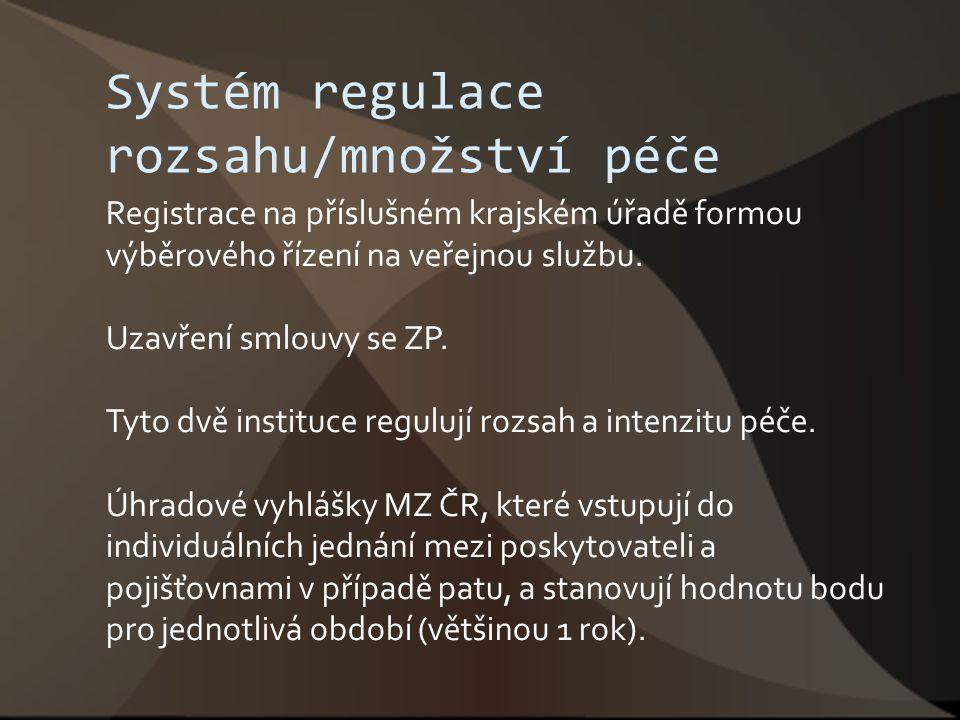 Systém regulace rozsahu/množství péče