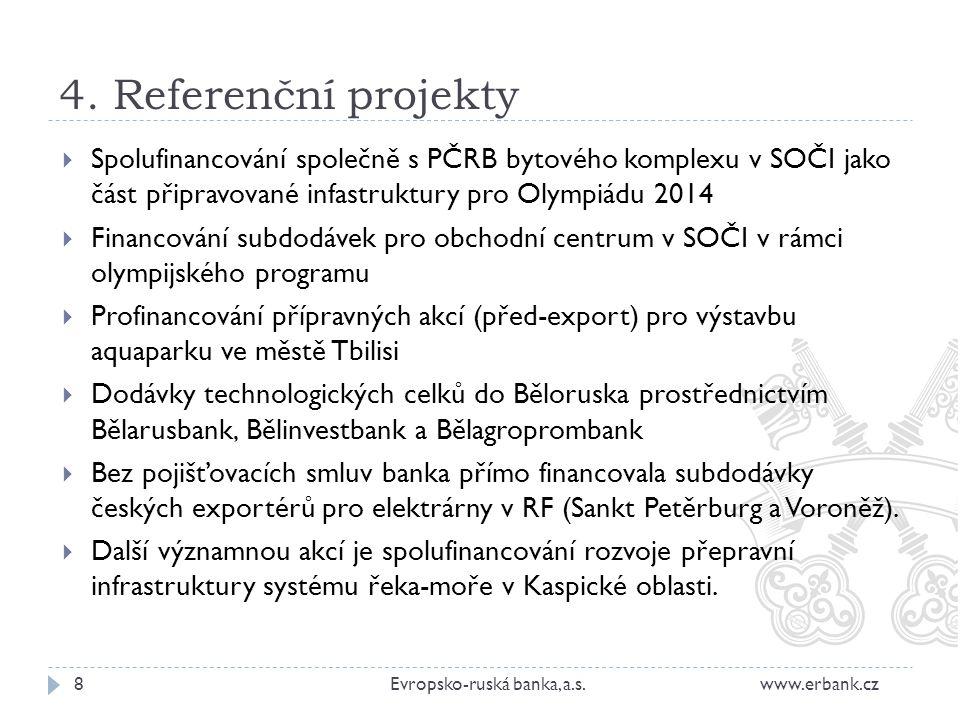 4. Referenční projekty Spolufinancování společně s PČRB bytového komplexu v SOČI jako část připravované infastruktury pro Olympiádu 2014.