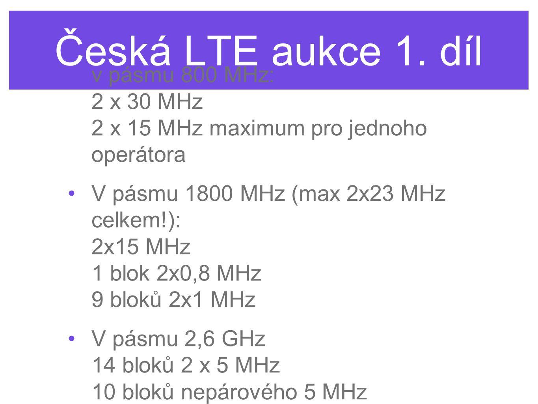Česká LTE aukce 1. díl v pásmu 800 MHz: 2 x 30 MHz 2 x 15 MHz maximum pro jednoho operátora.