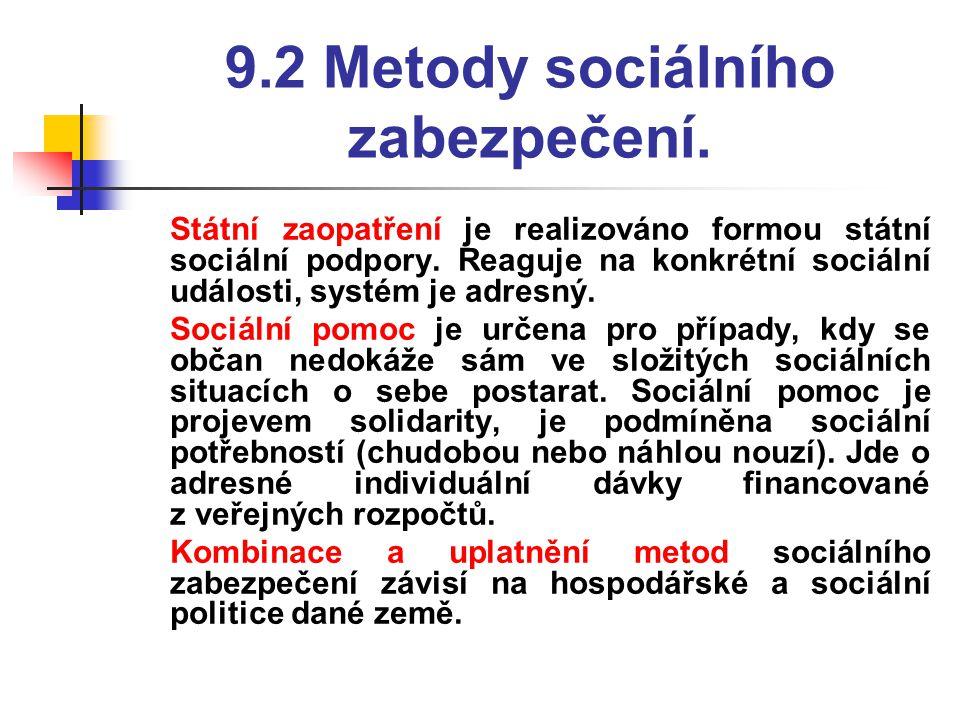 9.2 Metody sociálního zabezpečení.