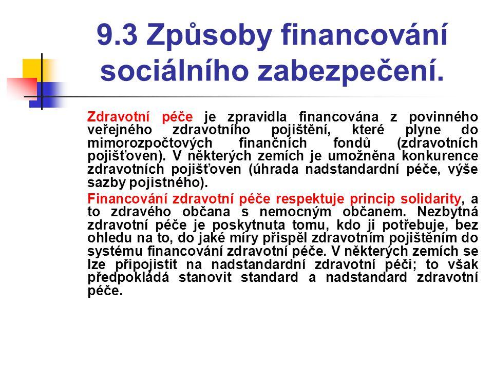 9.3 Způsoby financování sociálního zabezpečení.