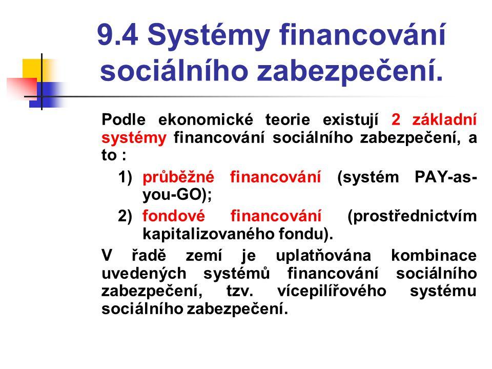 9.4 Systémy financování sociálního zabezpečení.