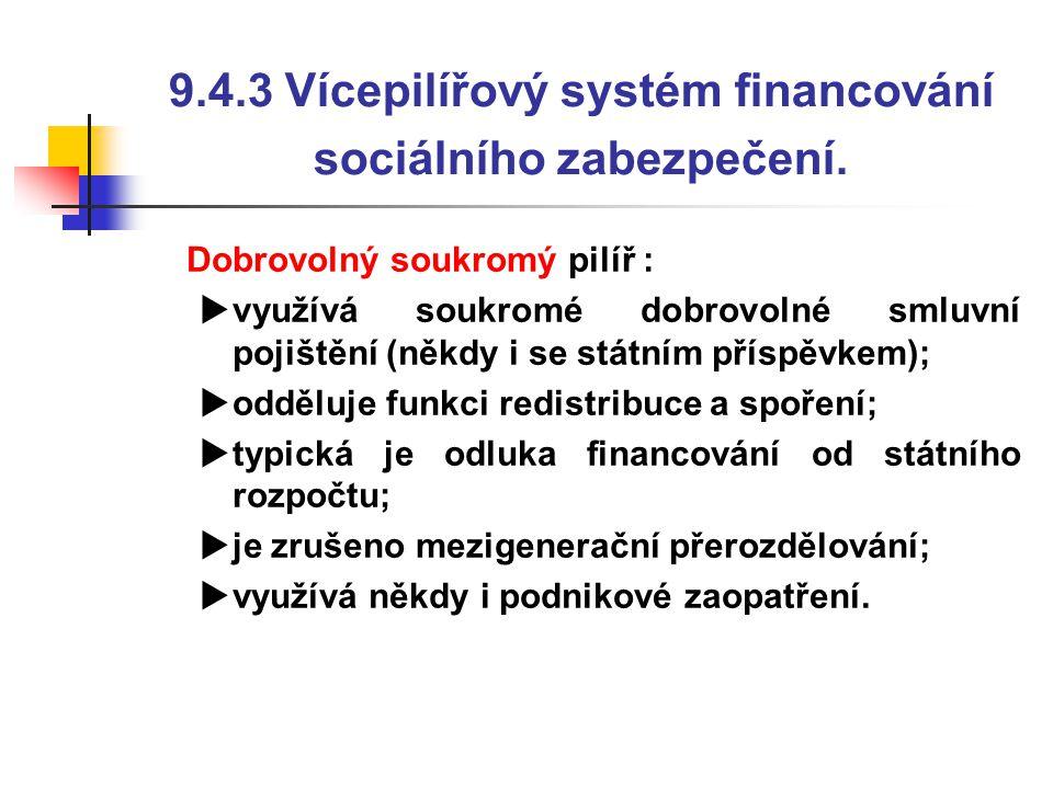 9.4.3 Vícepilířový systém financování sociálního zabezpečení.