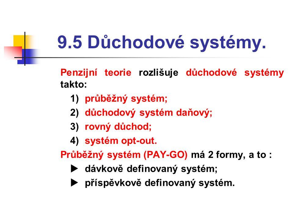 9.5 Důchodové systémy. Penzijní teorie rozlišuje důchodové systémy takto: průběžný systém; důchodový systém daňový;