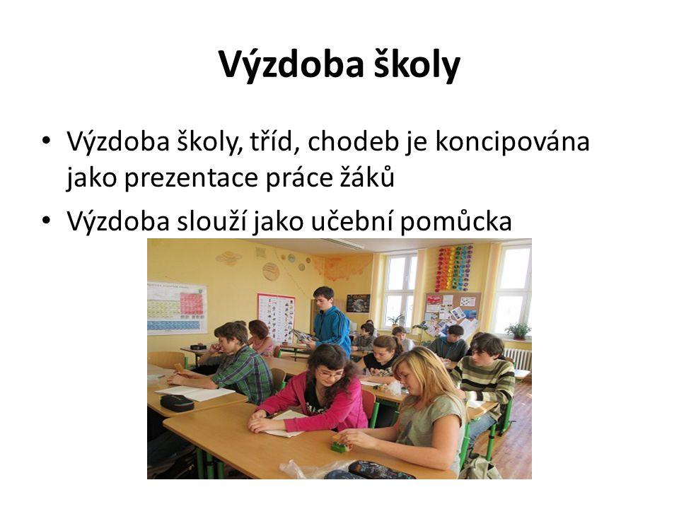 Výzdoba školy Výzdoba školy, tříd, chodeb je koncipována jako prezentace práce žáků.