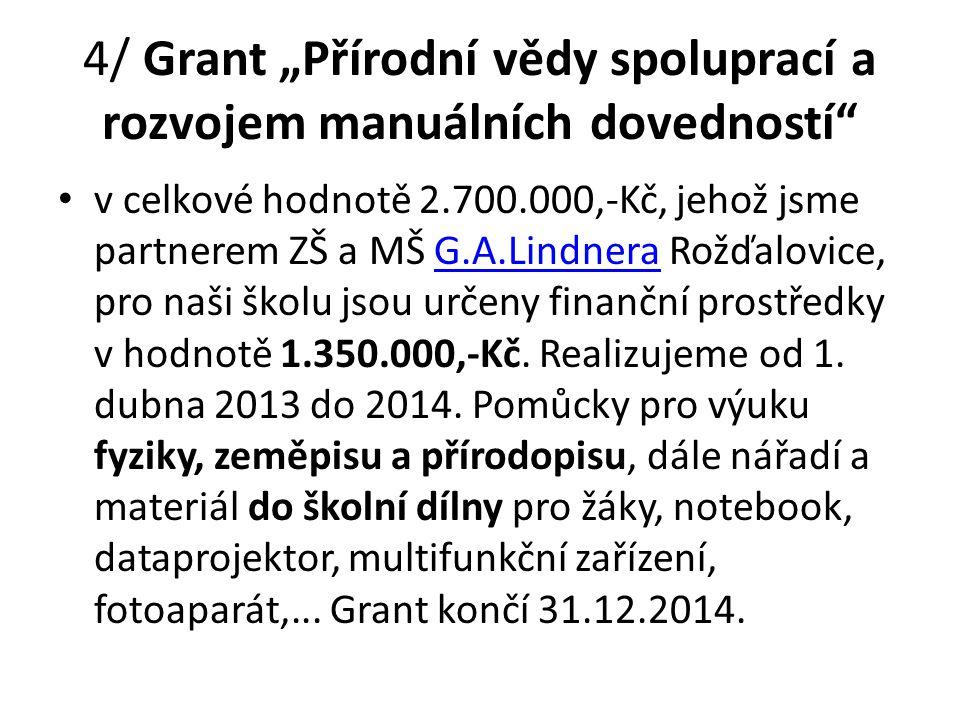 """4/ Grant """"Přírodní vědy spoluprací a rozvojem manuálních dovedností"""