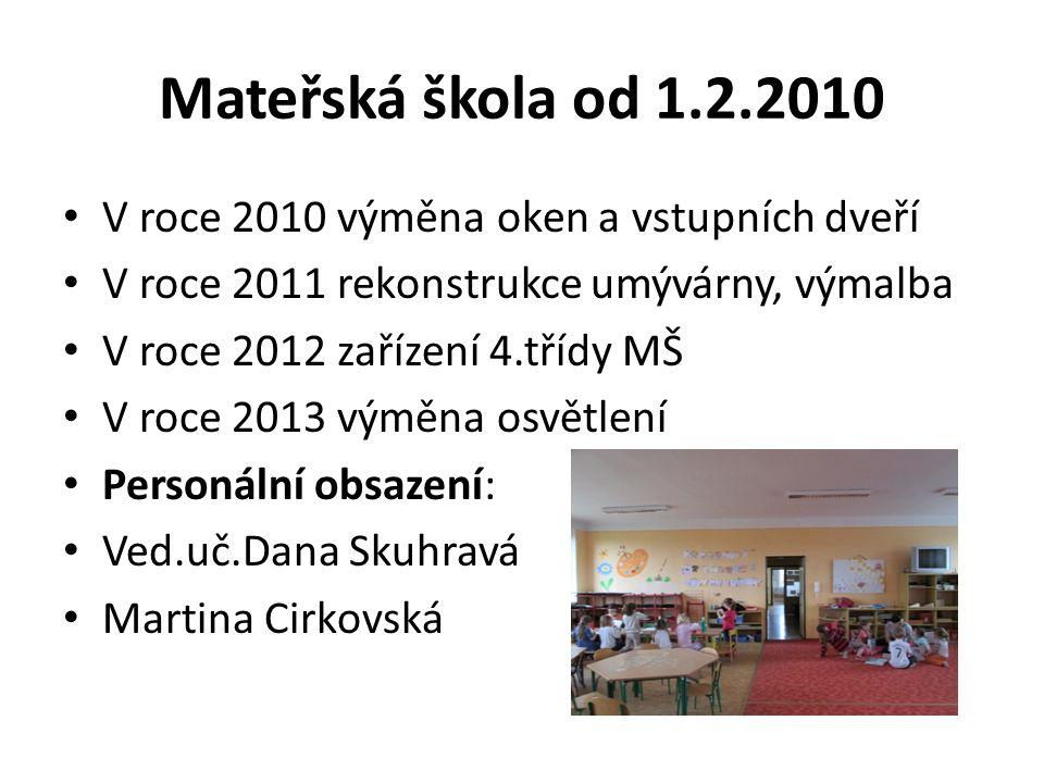 Mateřská škola od 1.2.2010 V roce 2010 výměna oken a vstupních dveří