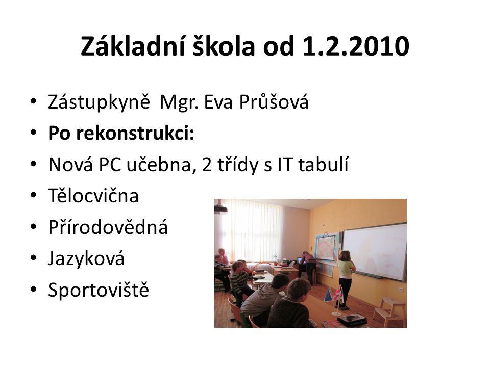 Základní škola od 1.2.2010 Zástupkyně Mgr. Eva Průšová