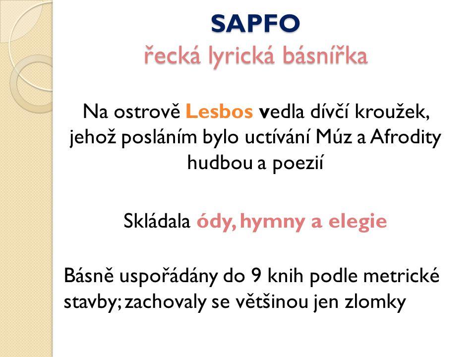 SAPFO řecká lyrická básnířka