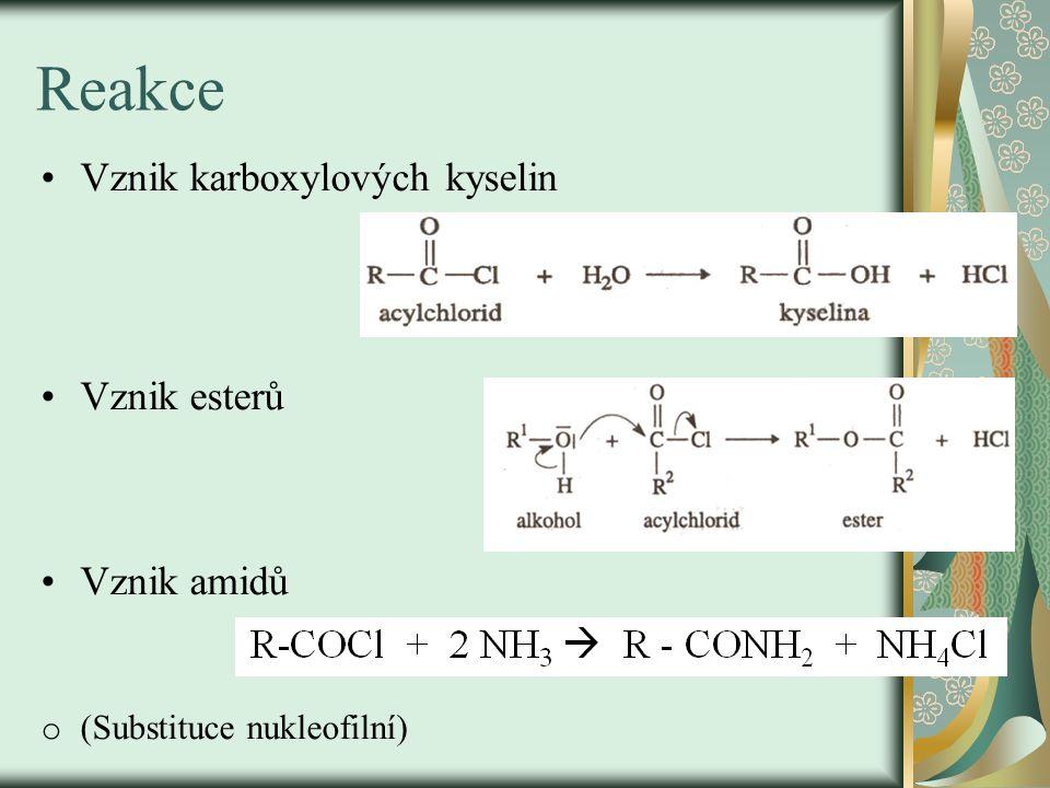 Reakce Vznik karboxylových kyselin Vznik esterů Vznik amidů