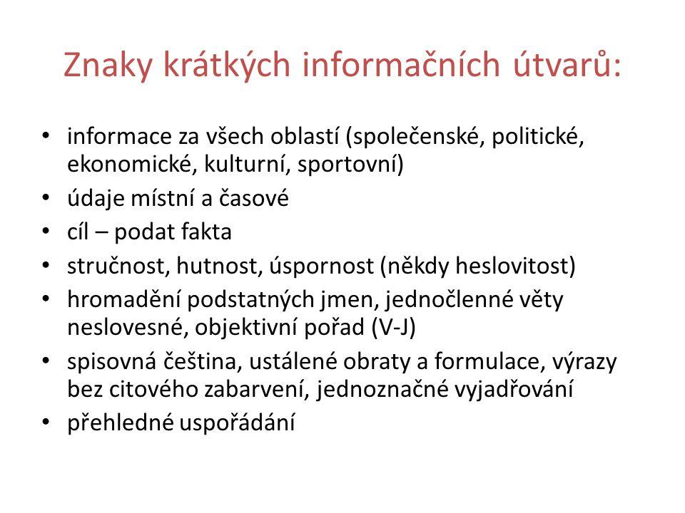 Znaky krátkých informačních útvarů: