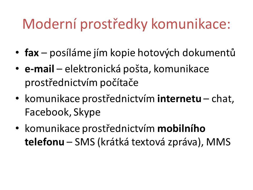 Moderní prostředky komunikace: